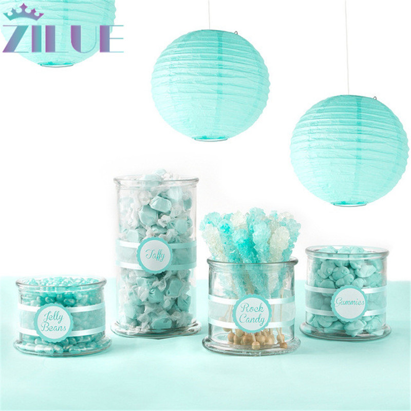 Zilue 10pcs / Lot 8 '' (20cm) Tiffany Blåpapper Lantern Child School Decoration Lantern Bröllop Heminredning Tillbehör