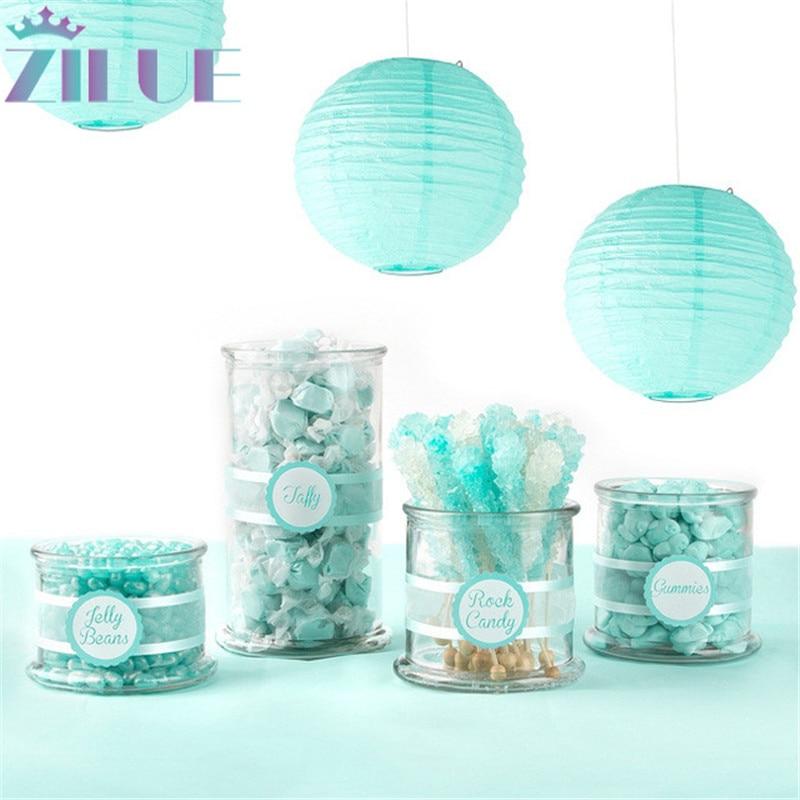 Zilue 10pcs / lot 8 '' (20cm) טיפאני כחול נייר פנס לילד בית קישוט פנסים קישוט הבית אביזרים