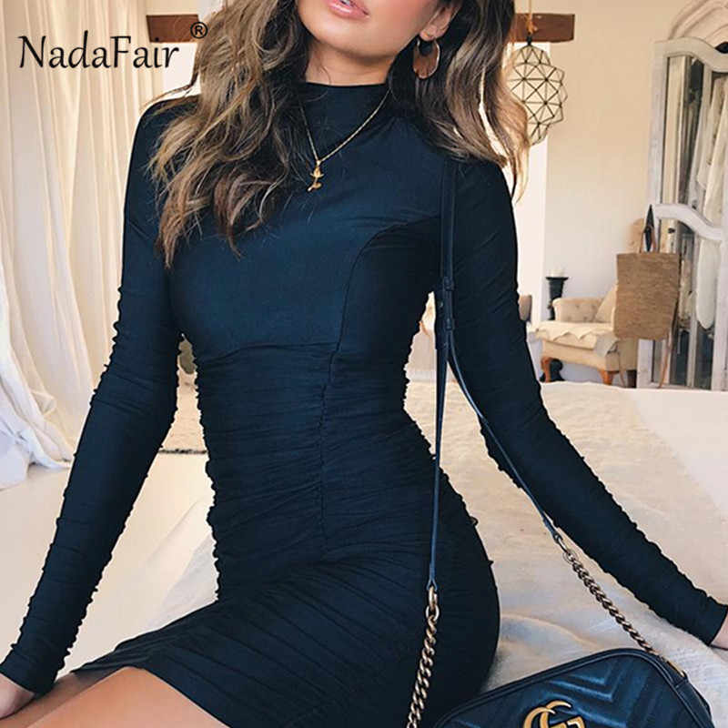 Nadafair Long Sleeve Bodycon Dress Women Turtleneck Ruched Black Wrap Dress  Elegant 2018 Mini Autumn Winter eae3f54d8