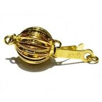 9mm 14K Yellow Gold Corrugated Ball Shaped Clasp