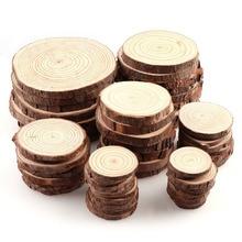 3-12cm de grosor 1 paquete de círculos de madera sin terminar redondos de pino Natural con discos de tronco de corteza de árbol DIY artesanía pintura de fiesta de boda
