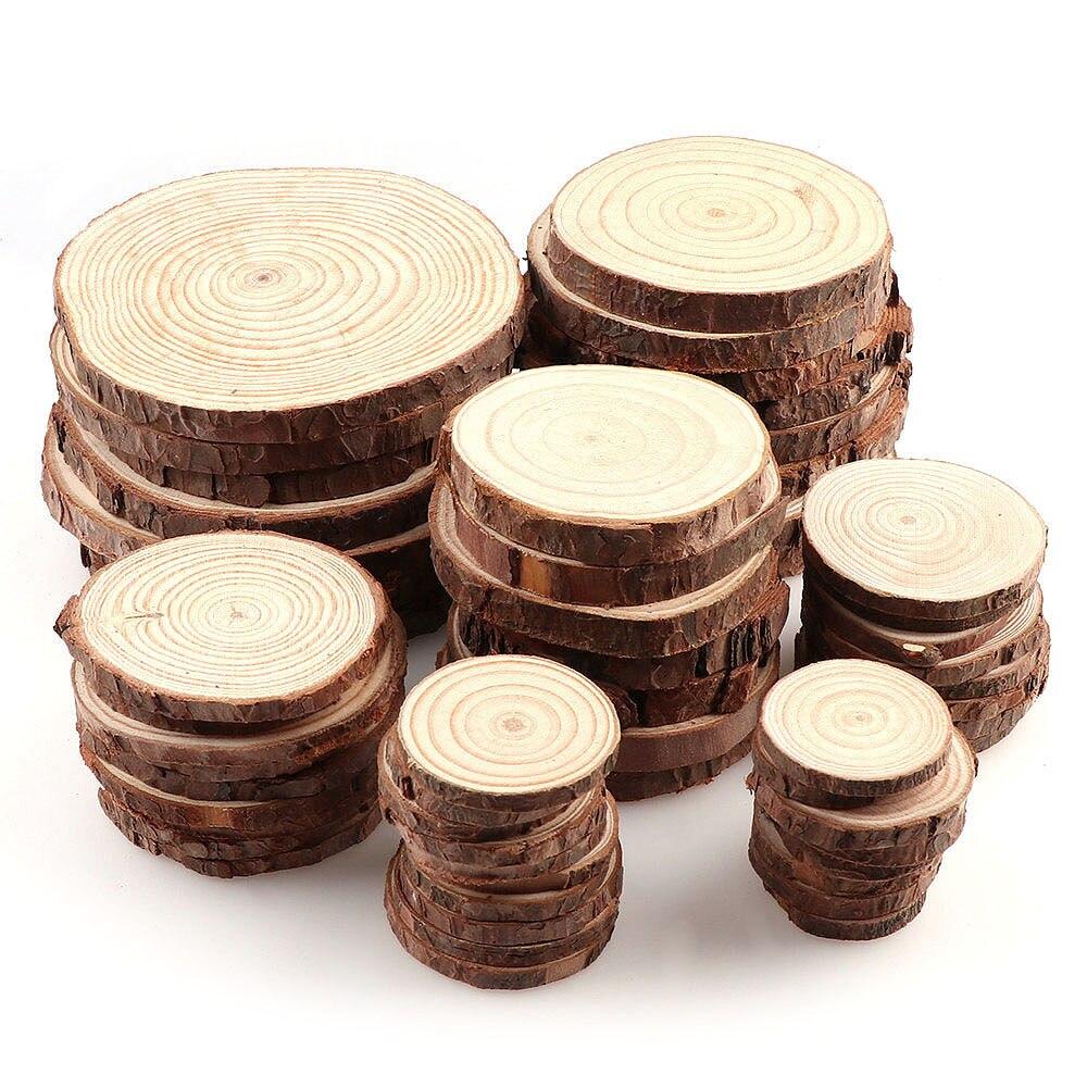300 pièces pin naturel rond inachevé bois tranches cercles avec arbre écorce Log disques bricolage artisanat mariage partie peinture