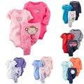 3 pçs/set crianças bebes Original conjunto de roupa de Roupas de Bebê Menina e Menino Bodysuit Macacão de Bebê 100% Algodão Triângulo Conjunto