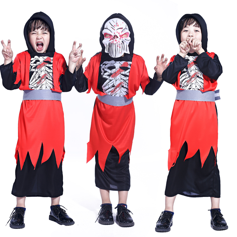Free shipping red Halloween ghost zombie clothes boys clothing Cosplay masquerade party costumes performance clothing