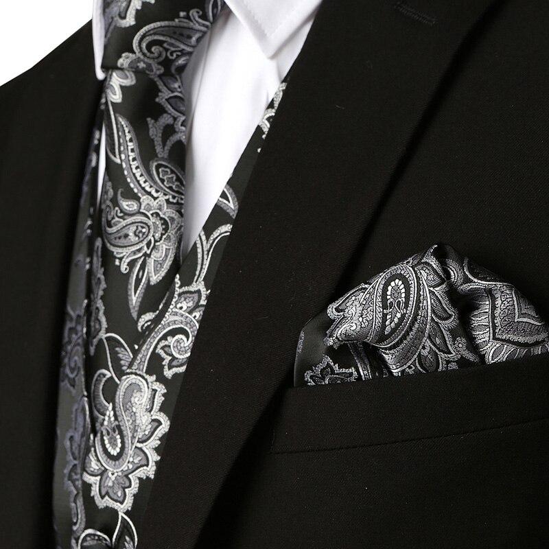 Black 3pcs Men's Party Wedding Paisley Waistcoat Vest Pocket Square Tie Suit Set For Wedding Groom Tuxedo Chalecos Para Hombre