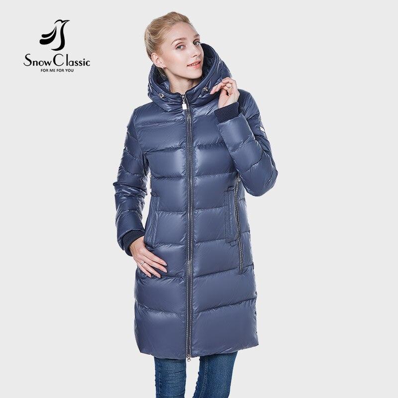 SnowClassic nouveau 2018 veste femmes camperas mujer abrigo invierno manteau femmes parc chapeau épais Détail décoration conception Européenne