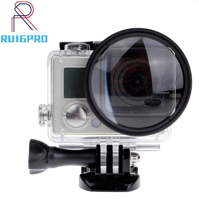Pour Gopro 4/3 + filtre 52mm gros plan + 10 Macro objectif adaptateur anneau pour gopro Hero 4/3 +/3 étanche boîtier verre accessoires