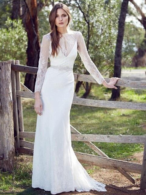 Elegant long sleeve wedding gowns lace appliqued vestido casamento elegant long sleeve wedding gowns lace appliqued vestido casamento romantic vestido de noiva bohemian style wedding junglespirit Image collections