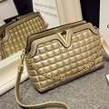 Lady's Quilted Designer Handbags Women's Leather Handbags High Quality Brand Bags Metal Color Bags Golden and Silver Color -E