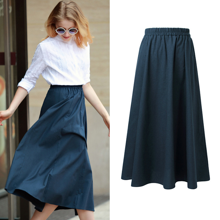 Aliexpress.com : Buy Women Elegant Solid Navy A Line Long Skirt ...