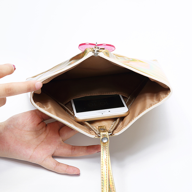 Bentoy Shining Leather Women's Handbag Personality Triangle Purse Hologram Clutch Evening Bag Fashion Wristlets Ladies Purse 8