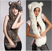 New Fashion Faux Fur Animal Hat With Long Scarf Wolf Fur Hat With Paws Beanies Cap