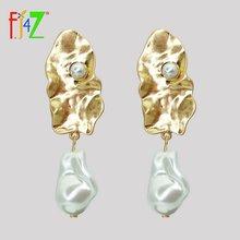 Fj4z Винтажные серьги в стиле барокко нестандартные с искусственным