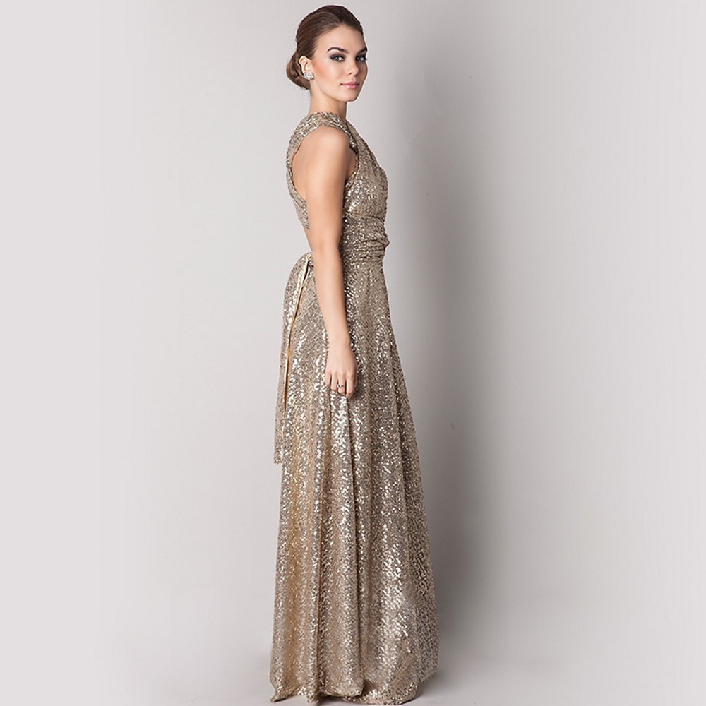 Long Sequined Maid Of Honor Bridesmaid Dress 2