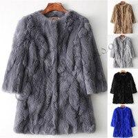 Ethel Anderson 100% Real Rabbit Fur Coat Women's O Neck Long Rabbit Fur Jacket 3/4 Sleeves Vintage Style Leather Fur Outwear