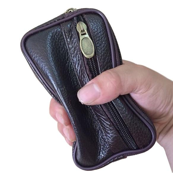 Men Fanny Pack Mobile Phone Coffee Color Genuine Cow Leather Zipper Coin Purse Pocket Pouch Short Bag Casual Waist Packs Man Bag