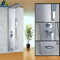 Luxury Waterfall Rain Shower Panel Shower Column With Body Massage Jets Tub Spout Shower Tap