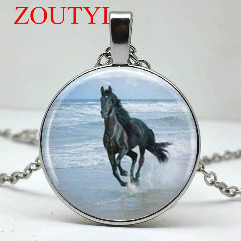 New Hot Black And White Horse Totem Pattern Concave Glass Pendant Necklace Mens necklace 2019 Fashion Gift Necklace