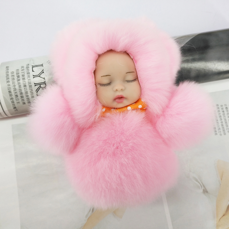 Cute Sleeping Baby Keychains Rabbit Fur Fluffy Ball Key Chain Bowknot Charming Pendants Decoration Kids Toys Bag Ornament Gifts
