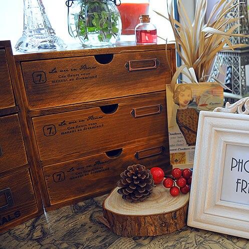 Retro drewniane trzy szuflady szafki drewna dziennika biżuteria box szafka szafka wykończenie pole ZAKKA