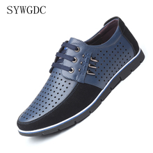 SYWGDC Men Leather Casual Shoes Summer Breathable Soft Driving Mens Handmade Flats Hollow Out Footwear Big Size 38-48