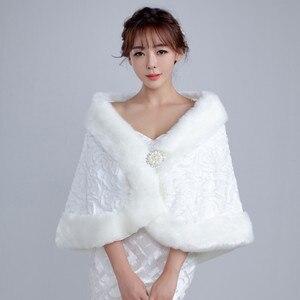 Image 1 - 2020 White Winter Bridal Jackets Women Fur Bolero Wraps Wedding Bride Accessories