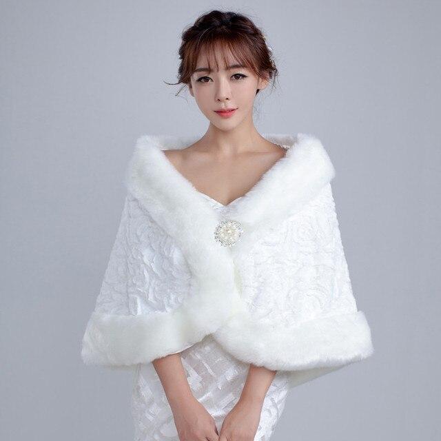 Vestes dhiver en fourrure pour femmes, enveloppe, accessoires de mariée, collection 2020