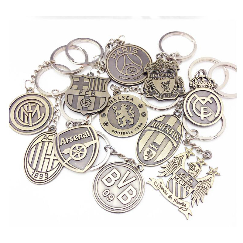 Hot European Cup Football Club Logo Keychain Bronze Alloy Double-Sided Badge Pendant Fan Souvenir Gift Exquisite Cardboard Packa
