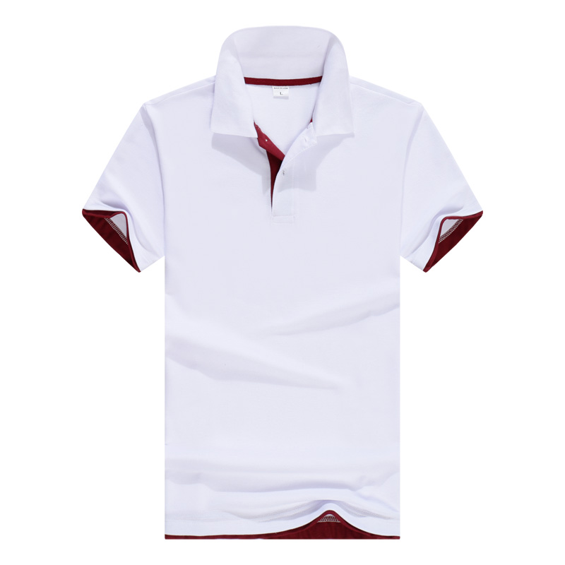 New men's   Polo   shirt men's business casual solid color men's   polo   shirt short-sleeved white breathable   polo   shirt brand clothing