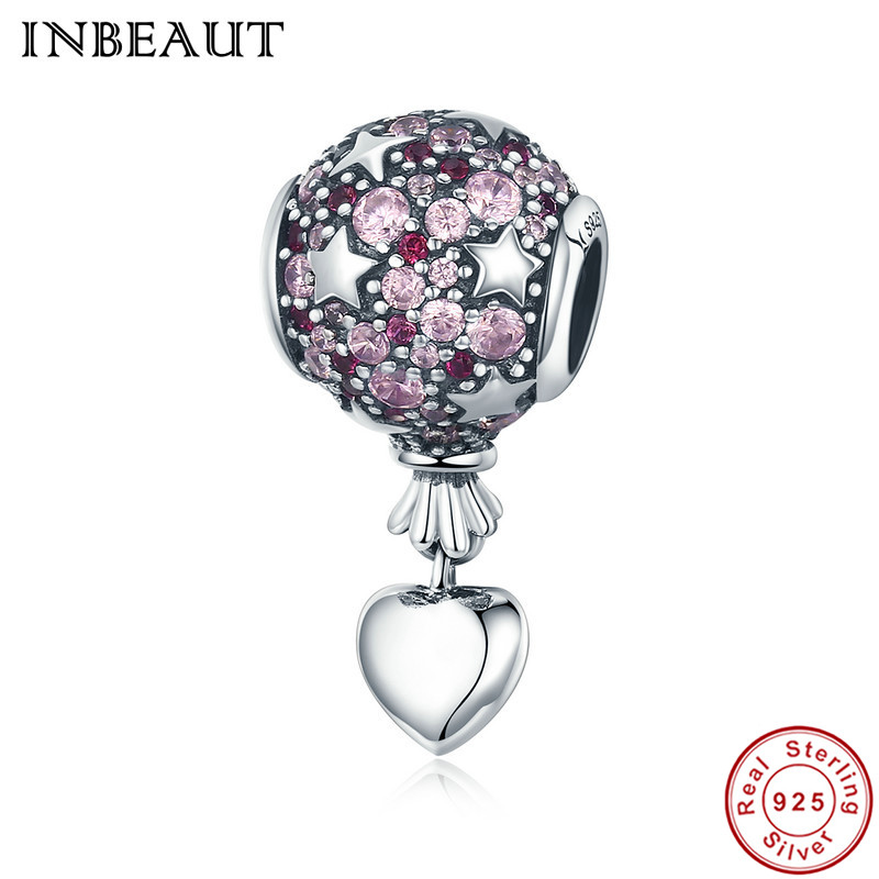 INBEAUT New Trendy 100% Real 925 Sterling Silver Heart Pink Zircon Stone Stars Hot Air Balloon Beads Charm fit Pandora Bracelet