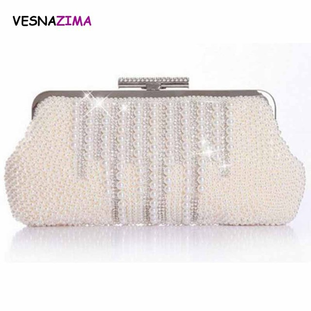 VESNAZIMA Women Evening Bag 2017 Ladies Rhinestone Clutch Purse Bag Bridal  Wedding Party Purse Pearl Beaded Handbag bolso WM024X d64ea5a5feeb