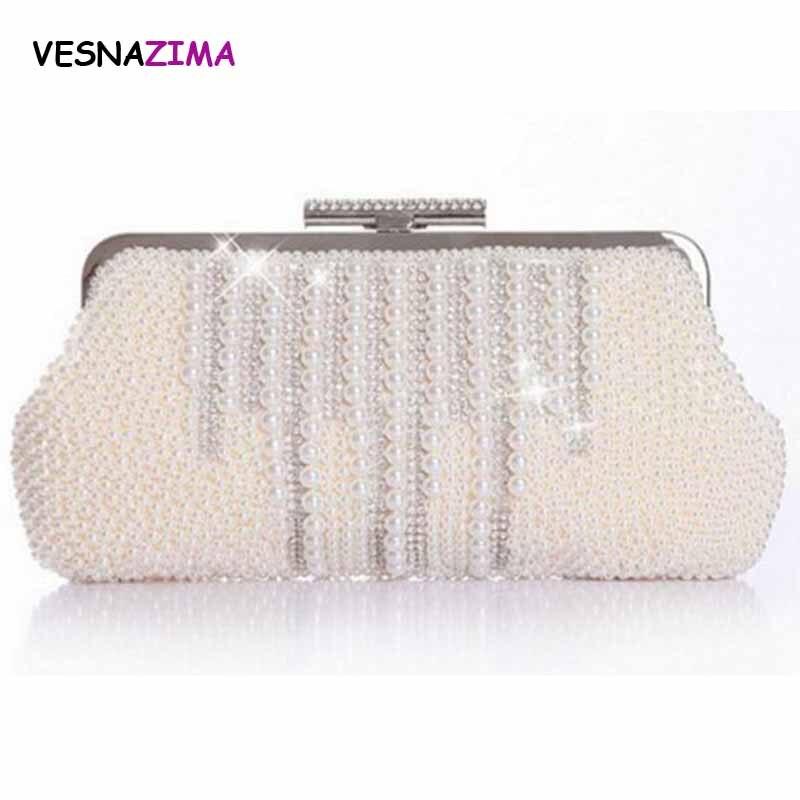 VESNAZIMA femmes sac de soirée 2017 dames strass embrayage sac à main sac de mariée de mariage sac à main perle perlée sac à main bolso WM024X