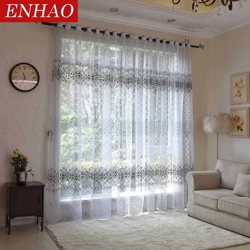Tende di Tulle trasparenti moderne floreali ENHAO per soggiorno camera da letto cucina Voile tende trasparenti per tende di Tulle per finestre tende