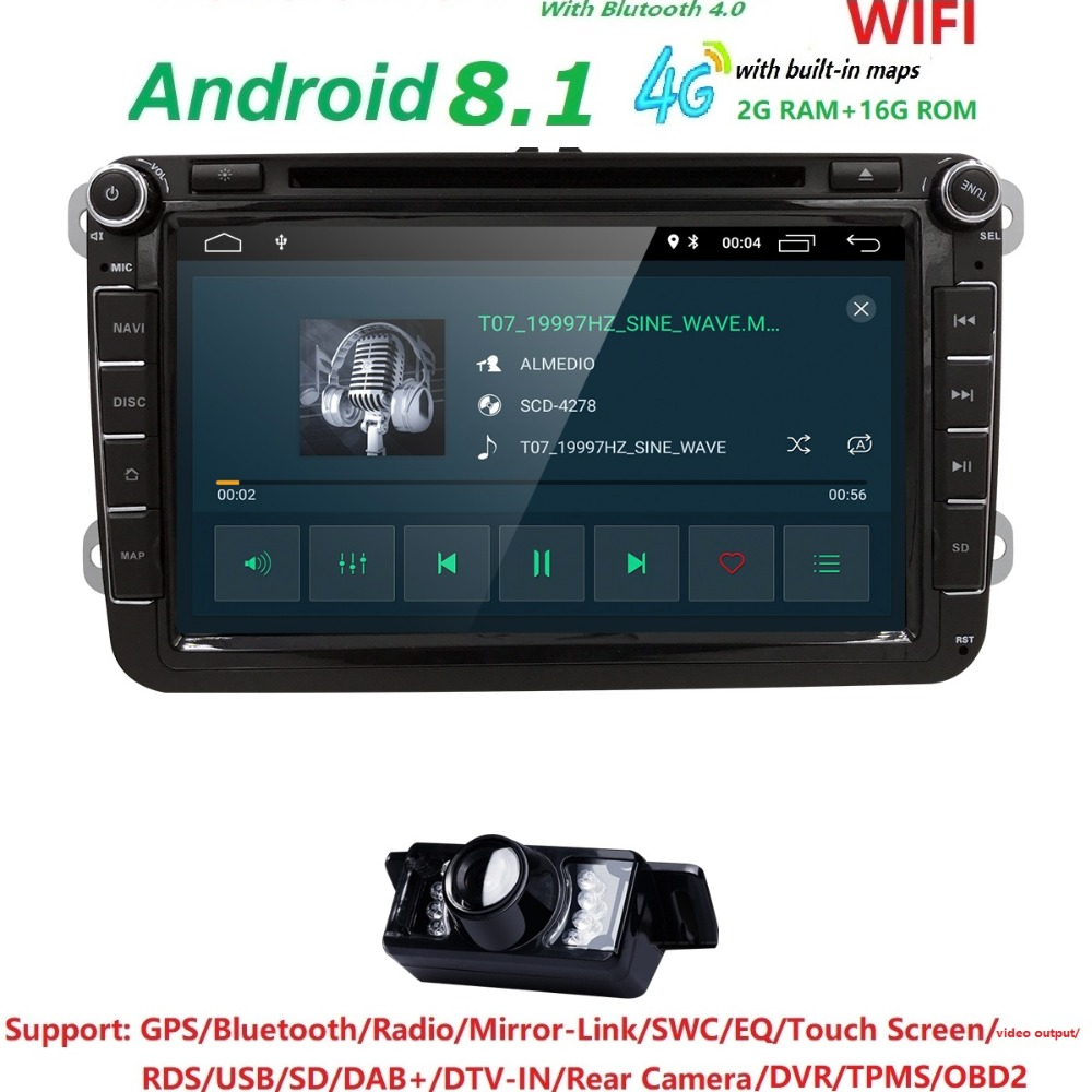 Android8.1 2 DIN Voiture DVD GPS pour Volkswagen V W skoda Passat B6/B7/B5/CC/ transporteur T5/sharan/touran/polo TIGUAN RDS wifi