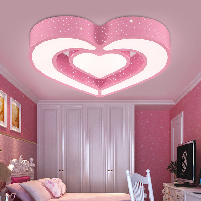 US $178.0 |Schlafzimmer licht kinderzimmer led deckenleuchte kreative  cartoon herz schöne schlafzimmer mädchen zimmer augenpflege deckenleuchte  ...