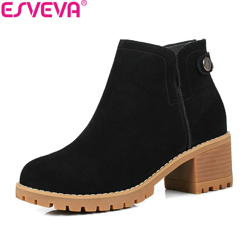 ESVEVA 2018 Women Boots Short Plush/PU Black Cow Suede Square High Heel Out Door Ankle Boots Concise Ladies Boots Size 34-40 esveva 2018 women boots cow leather suede out door buckle square high heels ankle boots pointed toe warm fur boots size 34 39