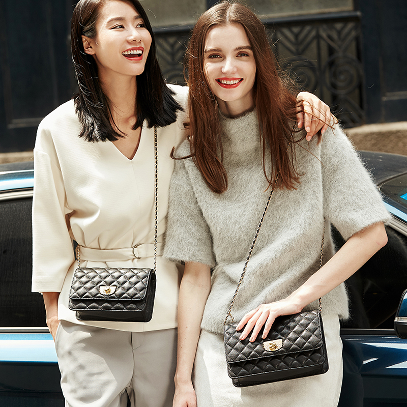 Sheepskin-Chain-Bag Crossbody-Bags Emini House Women Messenger Genuine-Leather for Lattice