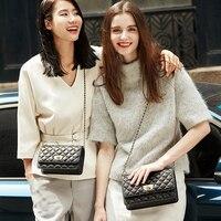 EMINI HOUSE Diamond Lattice Sheepskin Chain Bag Women Shoulder Bags Crossbody Bags For Women Genuine Leather Messenger Mini Bag