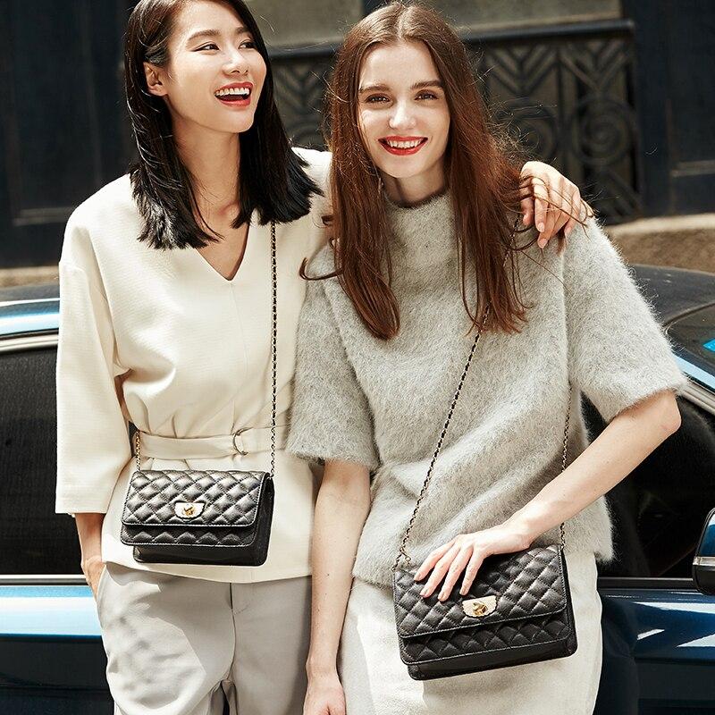 EMINI HOUSE diamant treillis en peau de mouton chaîne sac femmes sacs à bandoulière sacs à bandoulière pour femmes en cuir véritable Messenger Mini sac