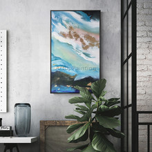 Canvas oil painting cuadros decoracion blue Sea wave acrylic Wall art Pictures for living room home decor quadros art03