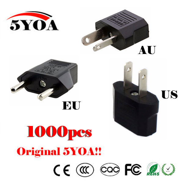 1000pc Universal Us Eu Au Plug Usa Euro Europe Travel Wall Ac Power Charger Outlet Adapter
