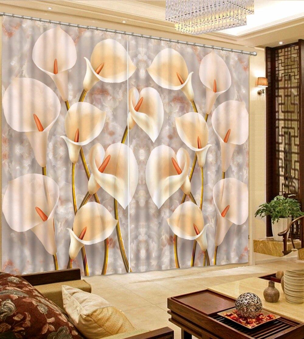 Europeu Quarto Cortinas Blackout Cortinas 3D do Projeto da flor de Mármore Para Decoração Da Janela Ganchos Cortina de Tecido