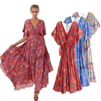 716d2e56af1 Летнее женское 2018 Vestidos длинное платье ретро богемное платье Макси сексуальное  Глубокий v-образный вырез цветочный принт пляжные платья Бох..