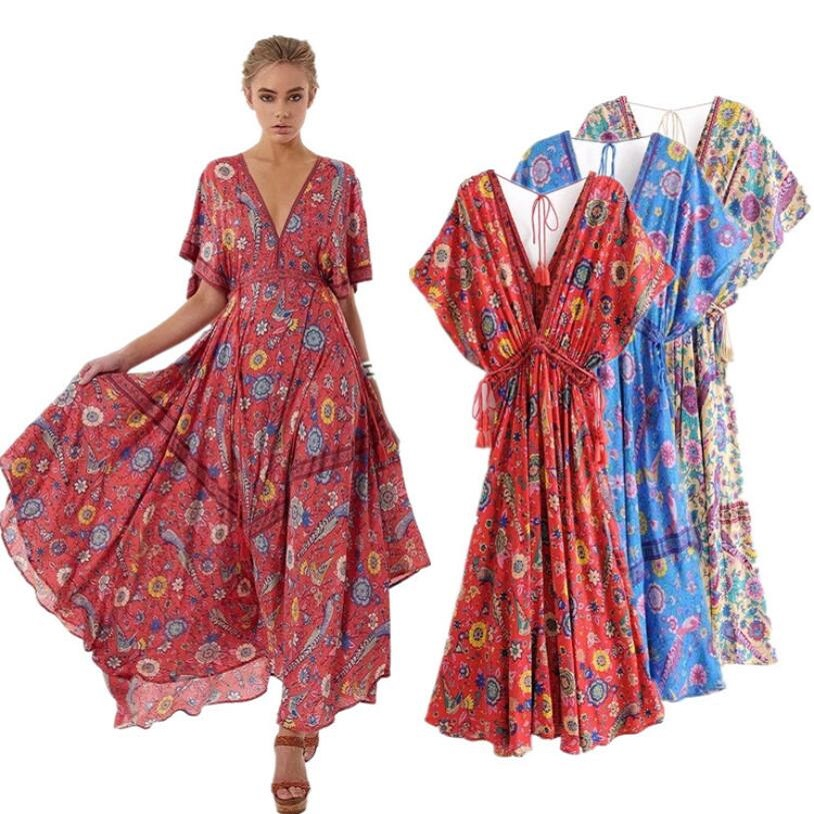 Summer Women 2019 Vestidos Long <font><b>Dress</b></font> Retro Bohemian Maxi <font><b>Dress</b></font> <font><b>Sexy</b></font> <font><b>V</b></font>-neck <font><b>Floral</b></font> <font><b>Print</b></font> <font><b>Beach</b></font> Ethnic <font><b>Dresses</b></font> <font><b>Boho</b></font> Hippie Robe image