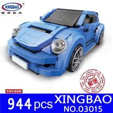 XingBao 03015 Genuine Creative MOC Technic Series The blue Beetle car Set Building Blocks Bricks Toys for Children Model Kit DIY стоимость