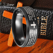 UZone Black Bible Cross Ring For Men 8mm Stainless Steel Scripture Ring For Lord Prayer Belife men s stainless steel ring rotatable ring bible verse ring bible verse cross ring