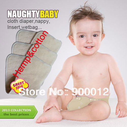 Free Shipping Naughty Baby Hemp Organic cotton 100pcs 3 Layers Reusable Baby Cloth Diaper Pads Nappy