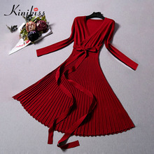 Kinikiss Sexy V-Neck Dress 2018 Spring Solid Color Long Sleeve Pullover Pleated Lace-Up Bowknot Elegant Women's Casual Dresses