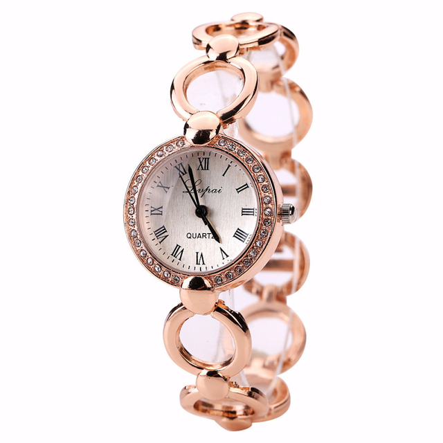 2016 Brand Luxury Crystal Gold Watches Women Fashion Bracelet Montre Quartz Watc