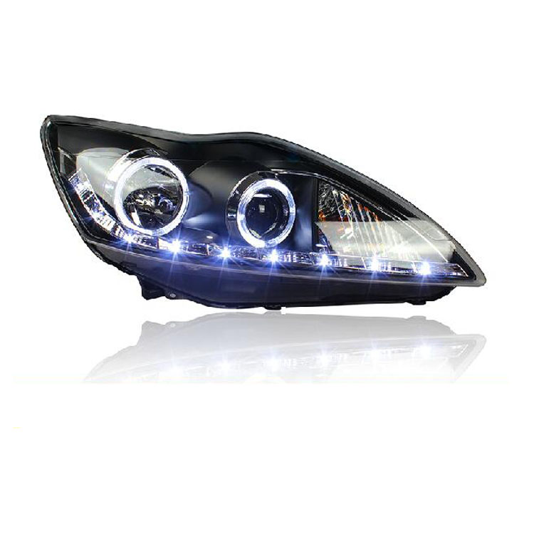 Ownsun LED DRL Double Angel Eye Bi-xenon Projector Lens Headlights For Ford Focus 2009-2011 ownsun new style tear drop led projector lens headlight for new ford focus 2012 2013